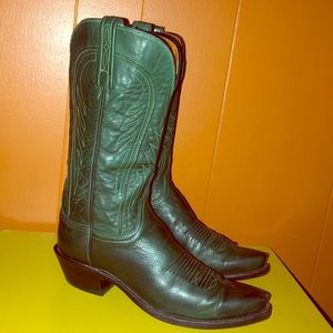 Lucchese 1883 Emerald Green Leather Cowboy Boots